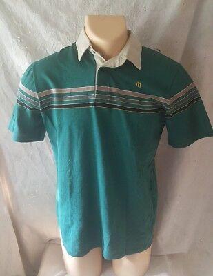 Vintage McDonald's Uniform Shirt Medium 1986 Crest Uniform Green Collared Polo