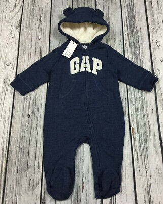 Baby Gap Boys 3-6 Months Navy Blue Logo Romper With Soft Lined Hood. Nwt Logo Baby Romper