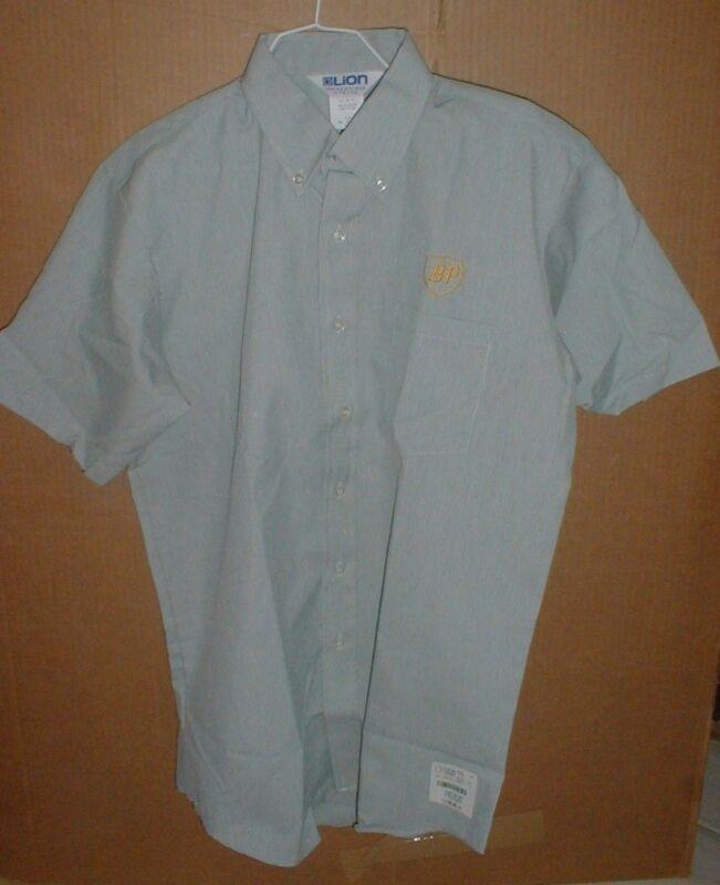 Mens BP Gasoline Oil Service Station vintage Dress Work Shirt LG NEW USA Made