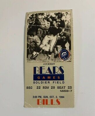Chicago Bears v Buffalo Bills NFL Soldier Field Ticket Stub 10/2/94 1994