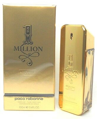 1 Million Absolutely Gold Paco Rabanne Pure Perfume 3.4 oz. for Men Sealed Box