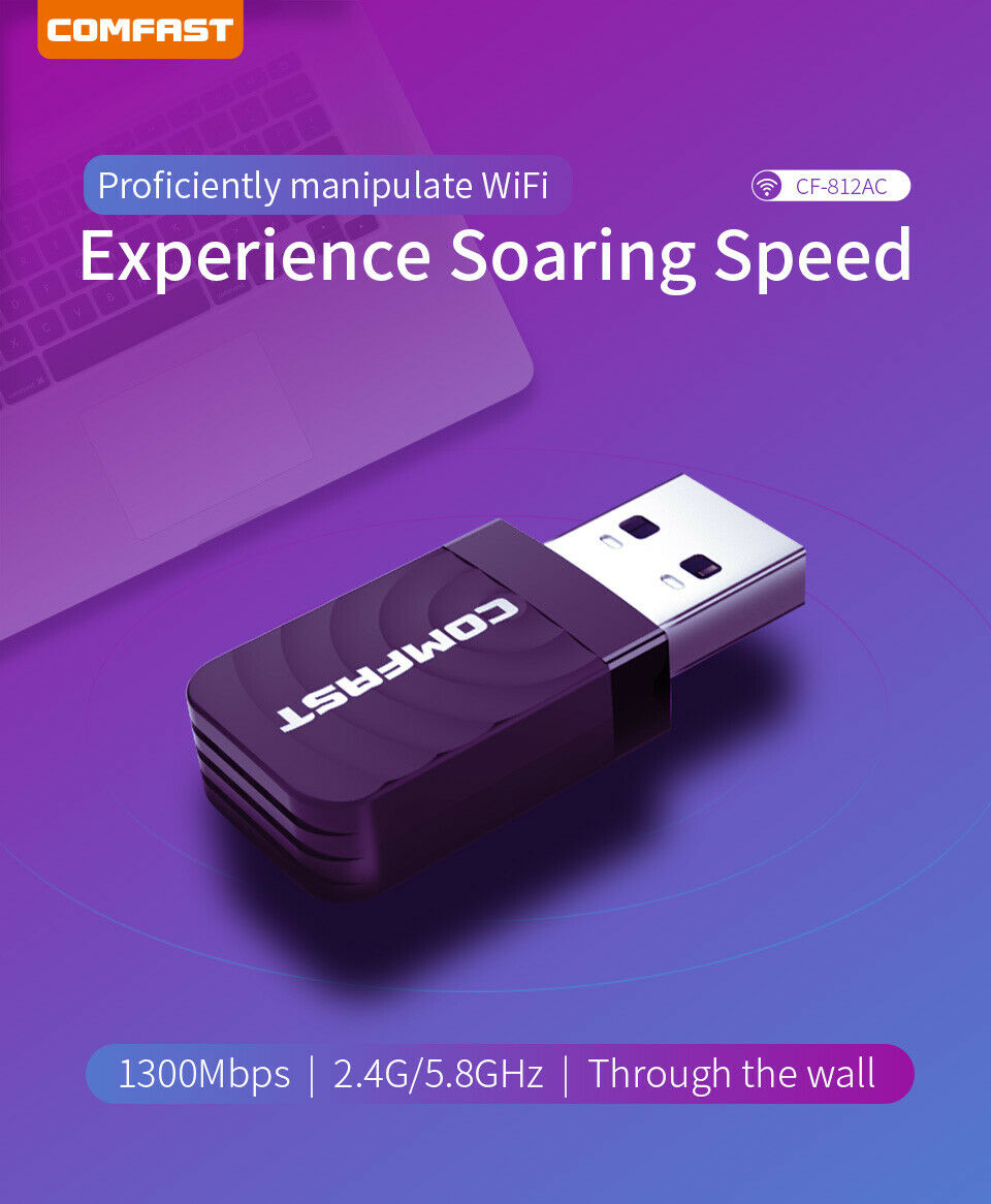 2.4G // 5.8G AC Built-in Antenna Network Card WiFi Adapter USB Wireless Adapter High Power AC1300Mbps Dual-Band Wireless Network Suitable for Desktop USB3.0 Gigabit WiFi Adapt