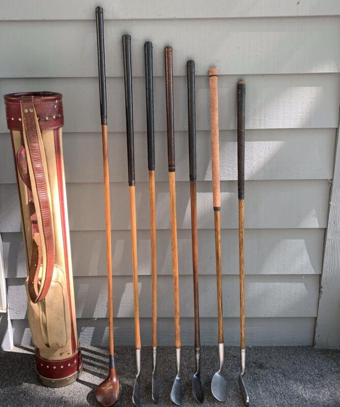 Excellent Set of Antique Hickory Wood Shaft Scottish Golf Clubs & Stovepipe Bag