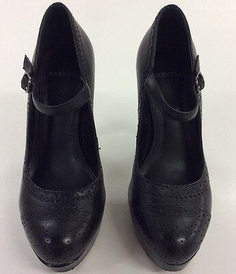 High Heeled Mary Jane Shoes (Ladies Carvela Mary Jane High Heeled Brogue Effect Black Leather Shoes Size)