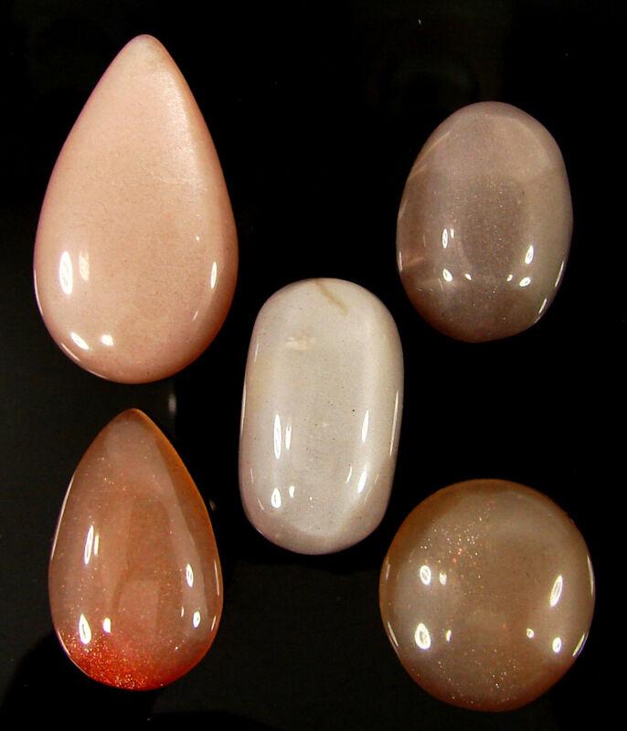 113.20 Ct Natural Multi Moonstone 20-32 mm Gemstone Cabochon 5 Pcs Lot - 43913