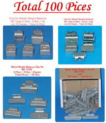 100 Pcs ASSORTMENT CLIP-ON WHEEL WEIGHT BALANCE MC STYLE 0.25 0.50 0.75 1.00 oz