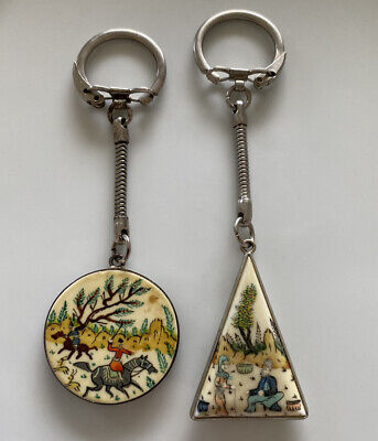 2 Vintage Persian Miniature Painting on Camel Bone Hand Painted Keychain