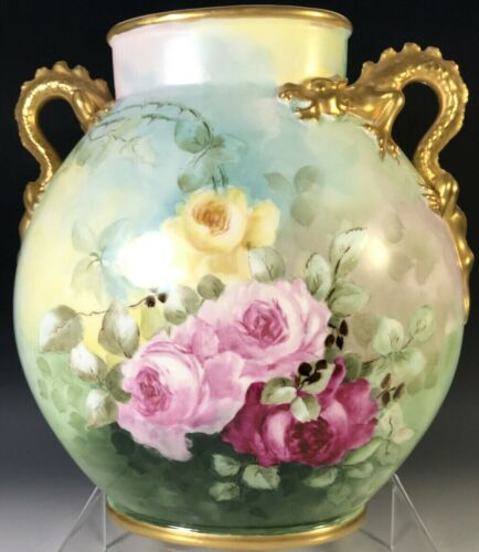 LIMOGES  HAND PAINTED ROSES DRAGON HANDLES VASE