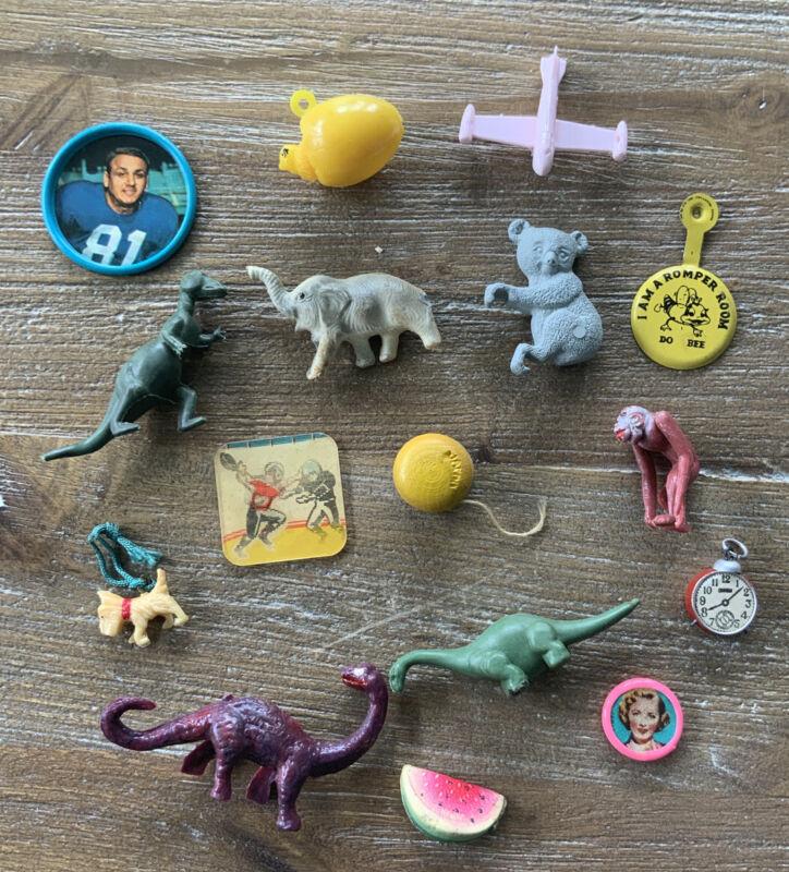 Vintage Cracker Jack Toys Vending Prizes Premiums Dinos Animals Plane Yo-yo LOT