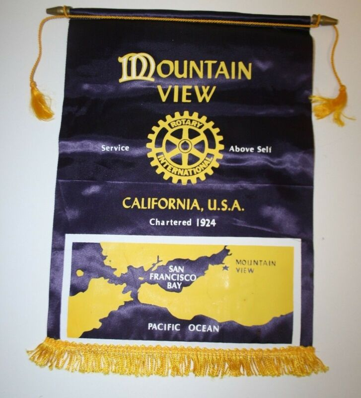 Vintage Mountain View Ca. International Rotary Club Wall Hanging Banner Flag