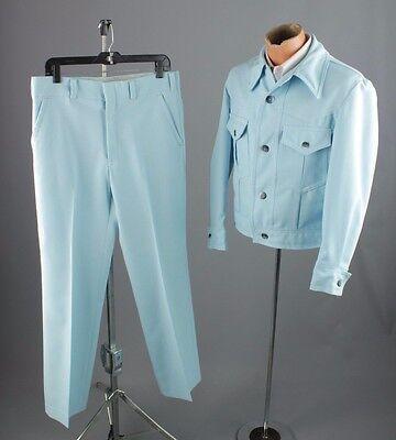 Vtg 70s Baby Blue Polyester Leisure Suit Jacket sz L Pants 34x31 1970s #2457