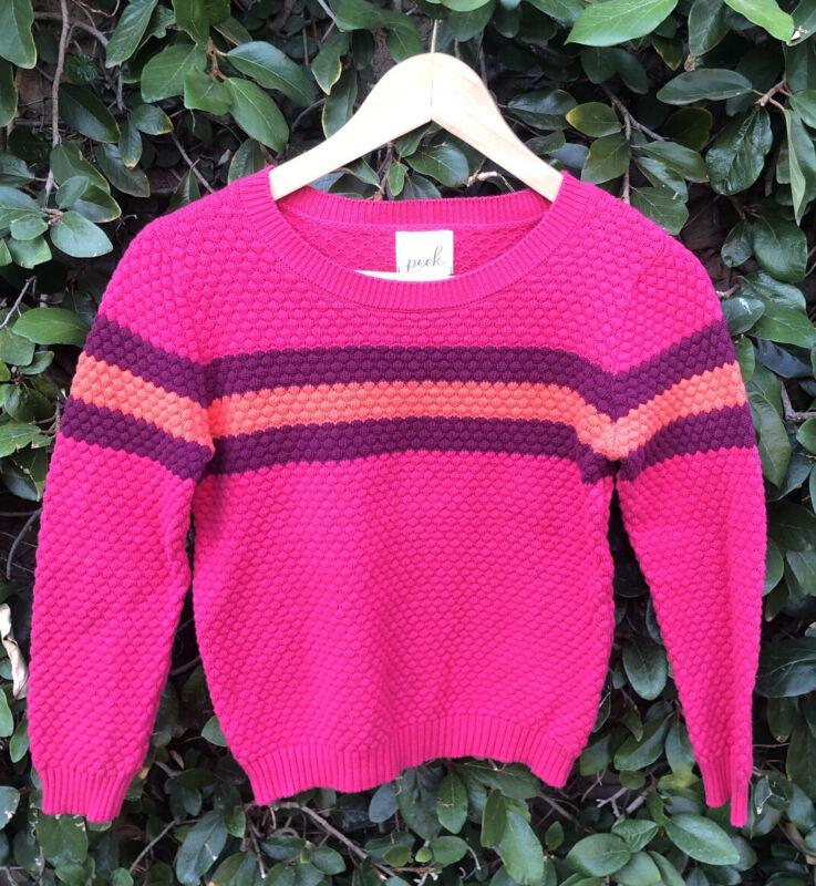 Peek Pink & Purple Striped Crew Neck Sweater Size 10 EUC