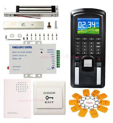 Color Display Biometric Fingerprint Access Control Kit Magnetic Lock Power Unit