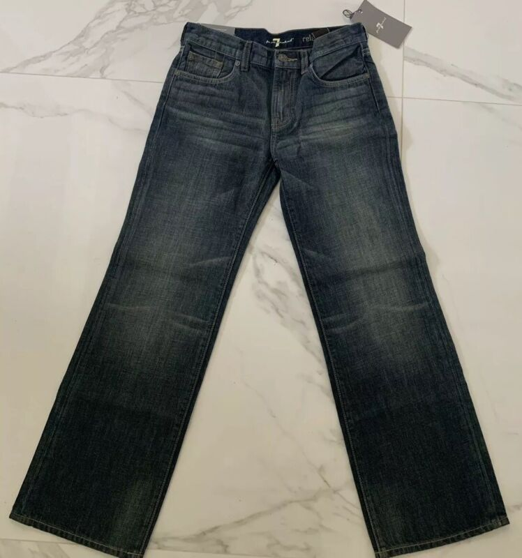 7 For All Mankind Jeans Distressed Blue Color Relaxed Size 8 NEW NWT