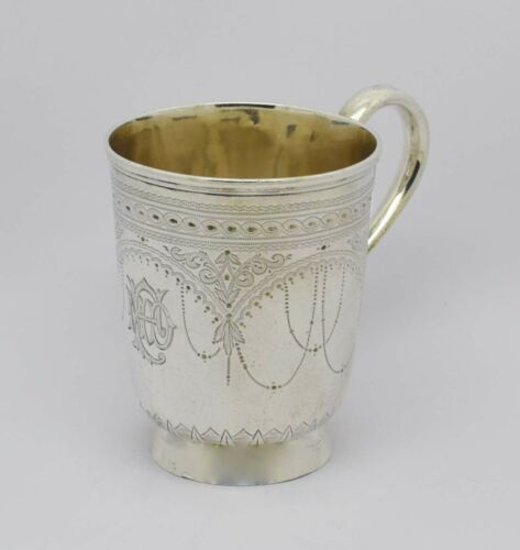 BEAUTIFUL VICTORIAN SOLID SILVER CHRISTENING CUP MUG HM 1882 MARTIN, HALL & CO