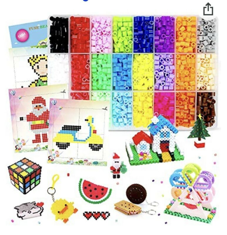 7800 PCS Fuse Beads Kit for Kids Ironing Beads Kit with 2 Pegboards