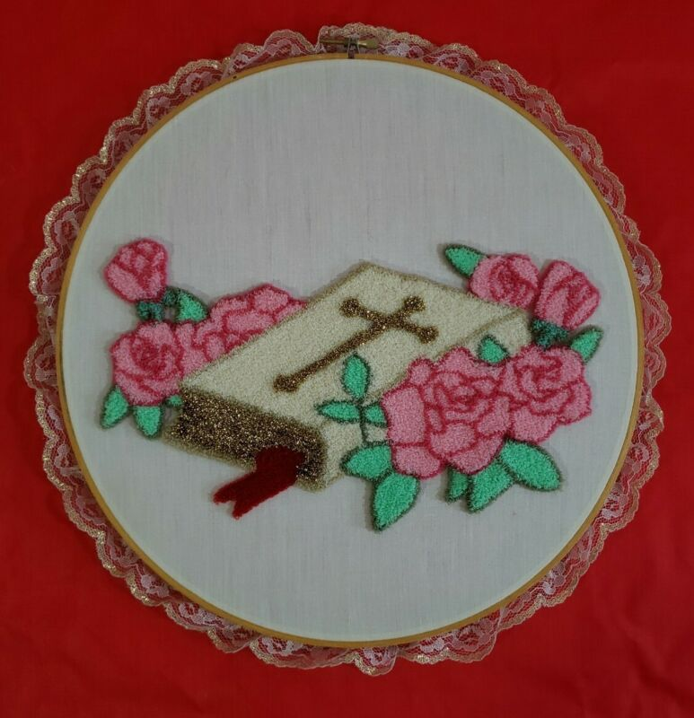 """Vintage Completed Punch Needle White Bible With Gold Cross Framed In 12"""" Hoop"""