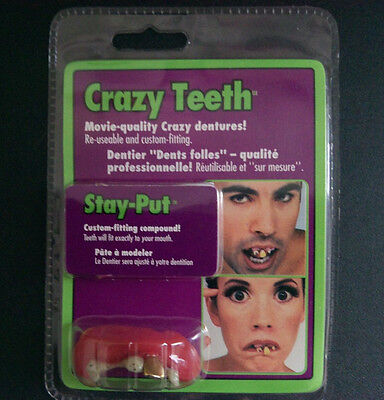 HALLOWEEN TEETH CRAZY ROTTING GOLD NIB COSTUME ACCESSORY ZOMBIE STAY-PUT (Crazy Zombie Costumes)