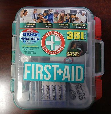 Emergency First Aid Kit Hard Case 351 p Complete Care Exceed OSHA ANSI -