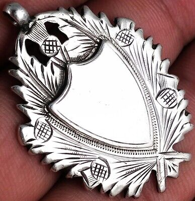 STUNNING ANTIQUE SOLID SILVER SCOTTISH THISTLE ALBERT CHAIN FOB MEDAL