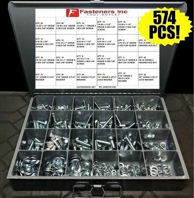574pcs Grade 5 Hex Bolts Nuts Washers Assortment Kit Coarse Thread Zinc