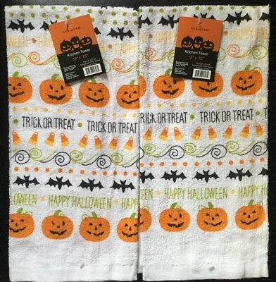 Set Of 2 Halloween Pumpkin Bat Trick Or Treat Holiday Kitchen Hand Dish Towels - Halloween Bat Treats