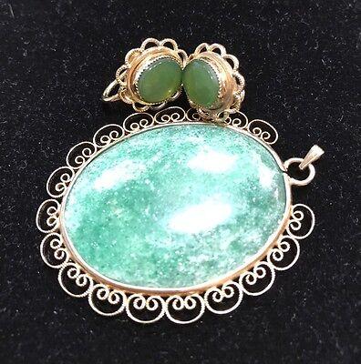 Antique Vintage Art Deco Green Jade Jadeite  Pendant Earrings 12k GF Gold Filled