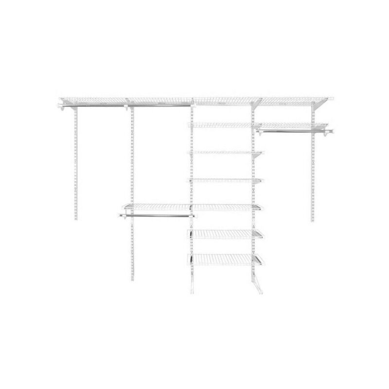 Rubbermaid FastTrack 6 to 10 Ft Wide White Wire Closet Configuration Storage Kit
