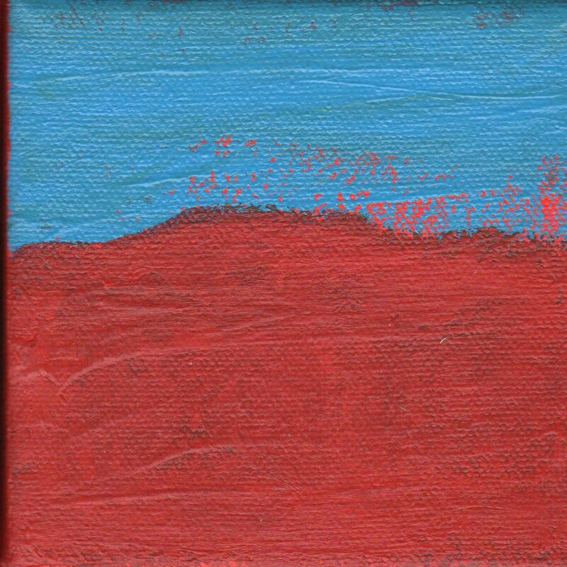Untitled Abstract Painting Art Red Blue Wall Decor Artist with Autism