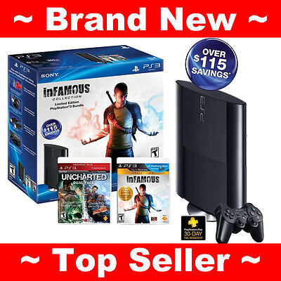 NEW SONY PLAYSTATION 3 PS3 SLIM 250GB Console BUNDLE INFAMOUS + UNCHARTED Games on Rummage