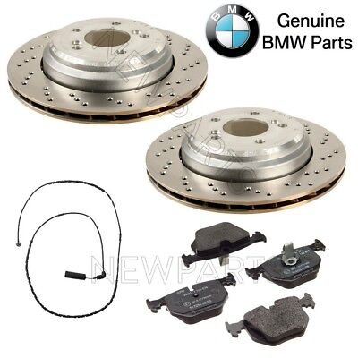For BMW E46 M3 E85 E86 Z4 3.2L L6 Rear Brake Discs Pads & Sensor KIT Genuine ()