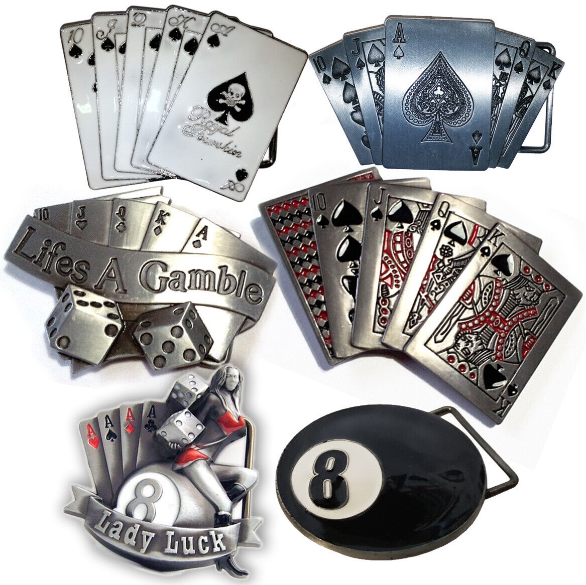 LUCKY seven 7 Poker Casino Karten Glück Rockabilly BELT BUCKLE Gürtelschnalle