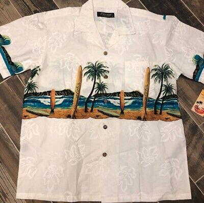 71cd2ca26 Favant Designed in Hawaii Surfboards Palm Trees Short Sleeve Cotton Shirt XL  New