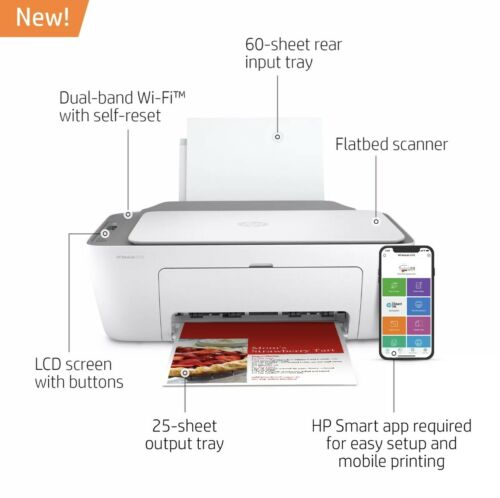 New HP DeskJet 2722 All in One Wireless Color Inkjet Printer