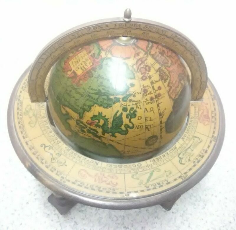 Vintage Wooden Olde World Globe Made in Italy