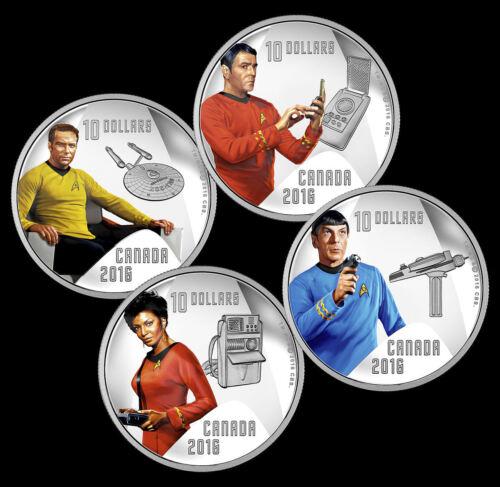 2016 Canada Star Trek Crew Proof $10 Silver 4 Coin Set - Kirk Spock Scotty Uhura