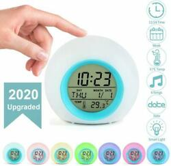 Kids Alarm Clock Digital for Student Boys Girls 7 Colors Changing Light Bedside