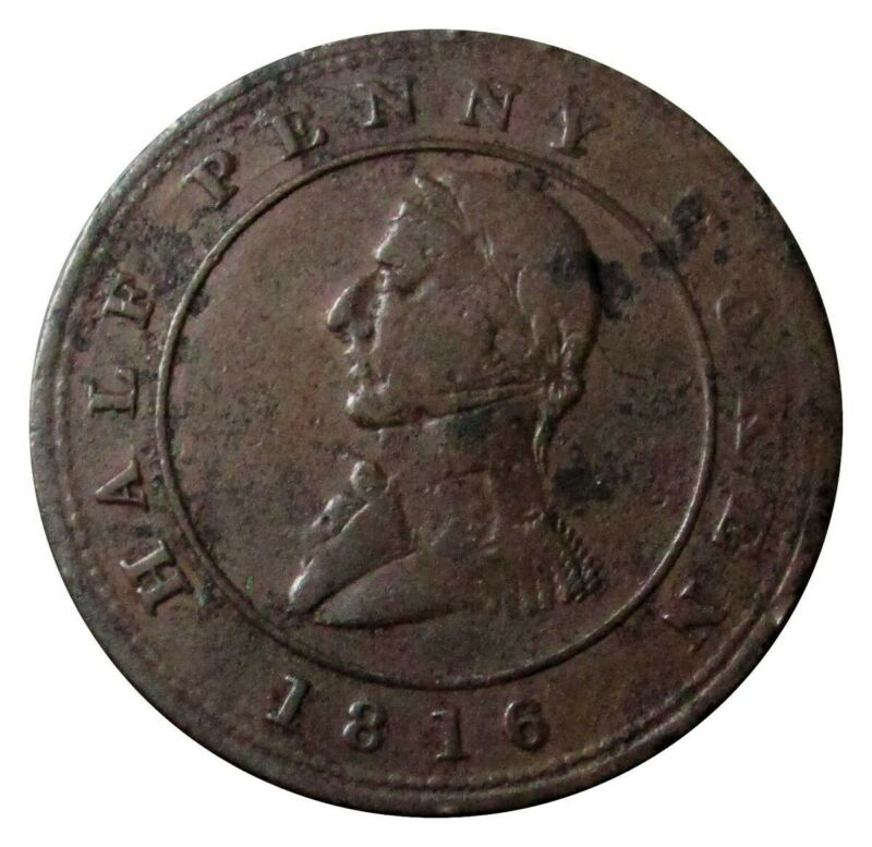 1816 MONTREAL LOWER CANADA 1/2 HALF PENNY SAILING SHIP TOKEN LC 12