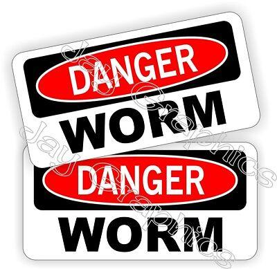Hard Hat Stickers Danger Worm Roughneck Oil Field Helmet Decals Pegatinas