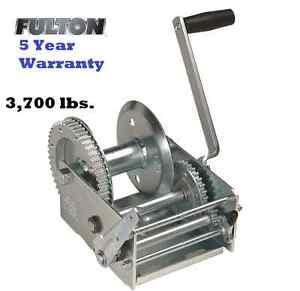 FULTON 2 SPEED TRAILER WINCH 3700 lb w/ BRAKE Z-MAX 600 ZINC CABLE USE BOAT BULK