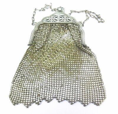 1920s Style Purses, Flapper Bags, Handbags .Antique Ornate Metallic Silver Gold Tone Mesh Whiting & Davis Co Bag 1920's $134.05 AT vintagedancer.com
