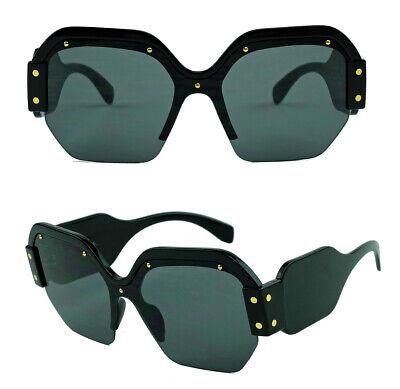Große Damen Sonnenbrille Designer Fashion XL Bold Octagonal Flat Lens randlos