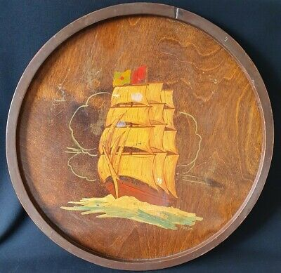 Vintage Wooden Tray With Ship Decoration