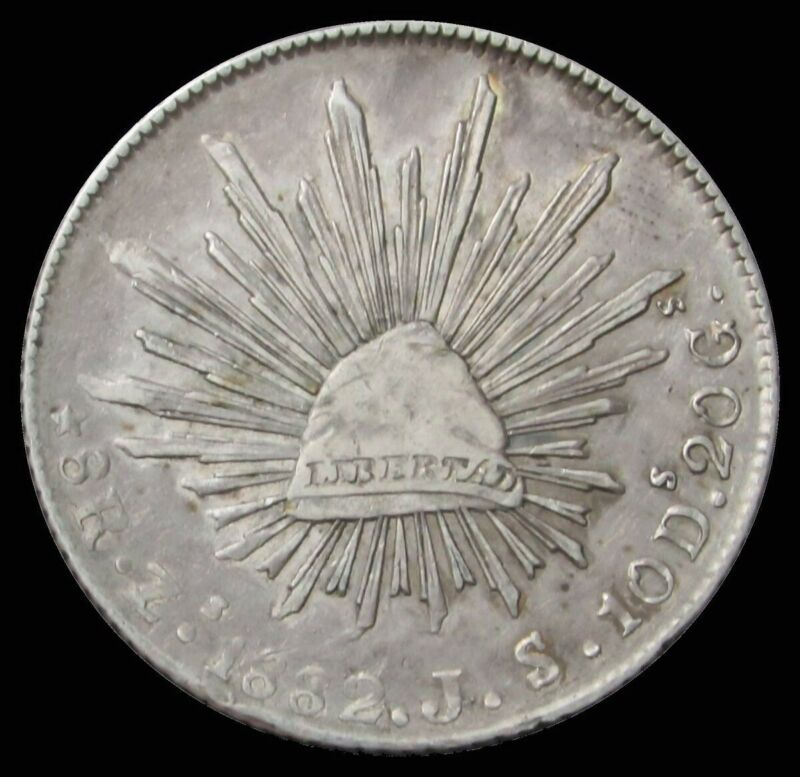 1882 Zs JS SILVER MEXICO 8 REALES CAP & RAYS COIN ZACATECAS MINT XF
