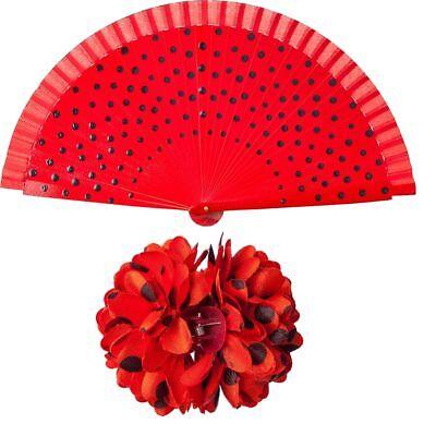 Orl - Kostüm Zubehör Flamenco Spanierin Haarspange Fächer - Flamenco Kostüme Halloween