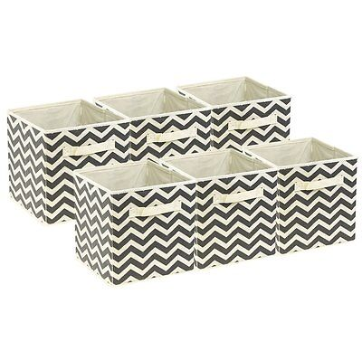 Sorbus Foldable Storage Cube Basket Bin, 6 Pack,Chevron Pattern - Storage Cube Baskets