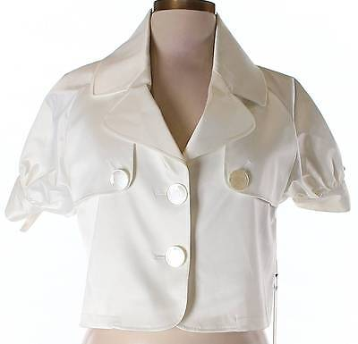 Nwt Vertigo Paris Designer Off White Short Sleeve Crop Top Size Large