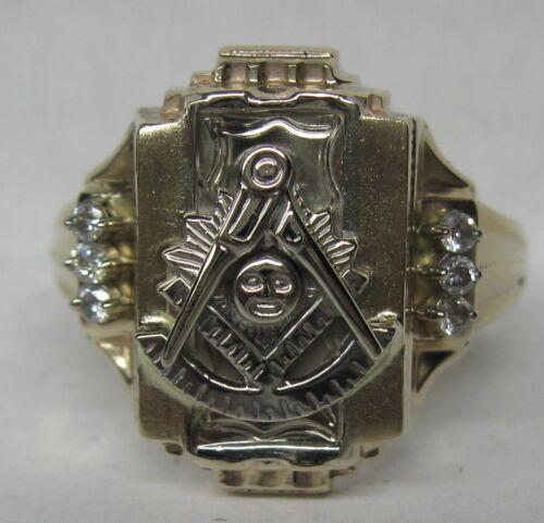 10K SOLID GOLD .12 CT. DIAMOND PAST MASTER MASONIC SOLID BACK RING