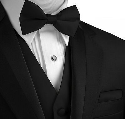 Men's Black Satin Formal Tuxedo Vest, Bow-Tie & Hankie Set (XS - 6XL LONG) - Vest Bow Tie