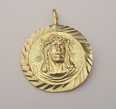 14K Real Solid Yellow Gold Jesus Face Crown Medallion Charm Pendant Diamond Cut - Crown Medallion